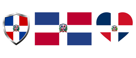 Set of Dominican Republic flag on isolated background vector illustration