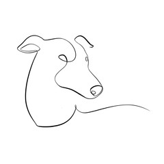 Foto auf AluDibond One Line Art Abstract, minimalistic, line art whippet dog figure. Hand drawn, one line, printable, wall art illustration.