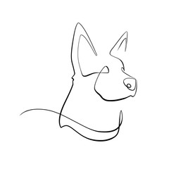 Foto auf AluDibond One Line Art Abstract, minimalistic, line art German shepherd dog figure. Hand drawn, one line, printable, wall art illustration.