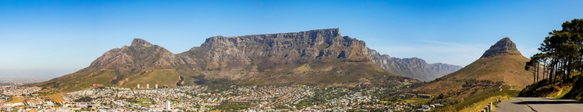 Elevated Panoramic view of Table Mountain and surrounds in Cape Town