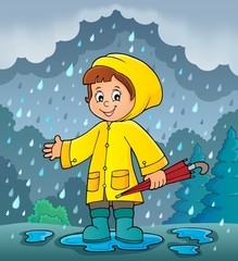 Poster For Kids Girl in rainy weather theme image 2