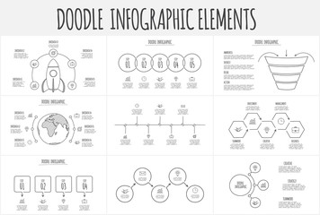 Doodle infographic set with funnel, rocket, earth, circles and other abstract elements. Hand drawn icons. Thin line illustration.