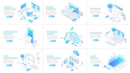 Isometric 3d illustrations set. Online shopping, planning, cloud technology and digital marketing with characters.