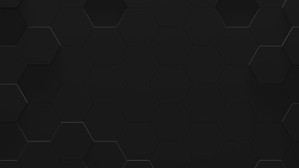 Black Hexagon Futuristic Background With Copy Space (3D Illustration)
