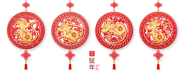 Hanging decorations with rat for 2020 chinese new year. Set of isolated circles with mouse for china holiday celebration. Rodent or animal sign for asian festive. CNY papercut for greeting card Fototapete