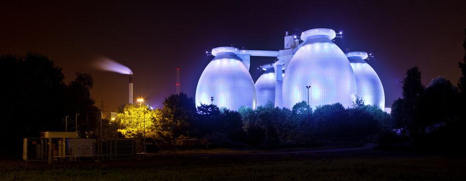 Blue Sewage Plant At Night Panorama