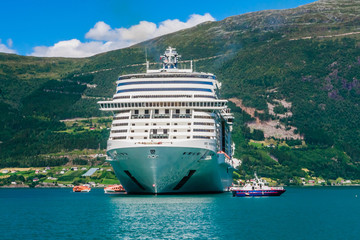 Luxury cruise liner MSC Meraviglia  In The Fjord Of Olden Norway