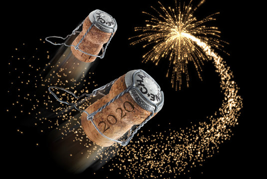 2020 - New year composition with champagne corks and fireworks - 3D illustration