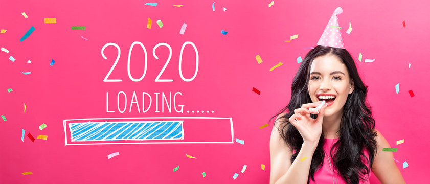 Loading new year 2020 with young woman with party theme on a pink background
