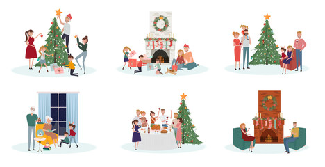 Celebratory scenes with people of different ages preparing for the holiday, decorate the Christmas tree, sit by the fireplace, gala dinner, give and unpack gifts.