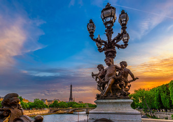 Wall Mural - Street lantern on the Alexandre III Bridge with the Eiffel Tower in the background in Paris, France