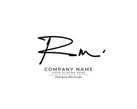 R M RM Initial handwriting logo design. Beautyful design handwritten logo for fashion, team, wedding, luxury logo.