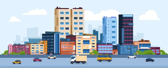 Urban landscape. Modern cartoon cityscape with buildings cars and street, flat urban downtown background. Vector illustration city scene with color residential panoramic view on downtown Fotobehang