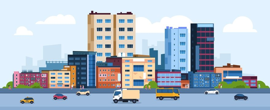 Urban landscape. Modern cartoon cityscape with buildings cars and street, flat urban downtown background. Vector illustration city scene with color residential panoramic view on downtown