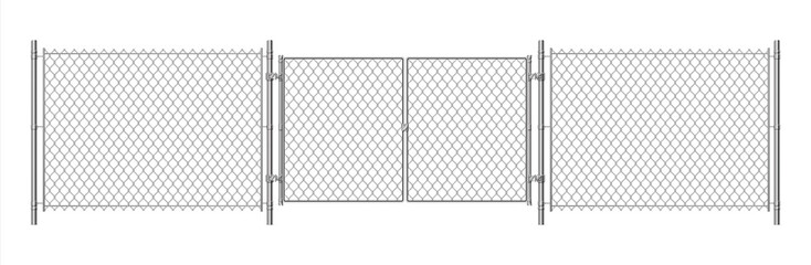 Metal wire fence. Realistic steel chain fence and detailing mesh gate. Vector illustration wire security prison fence with gated doors isolated on white background