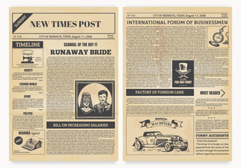 Vintage newspaper. Retro articles and old pictures with retro illustrations, realistic magazine pages template. Vector isolated modern design layout yellow page