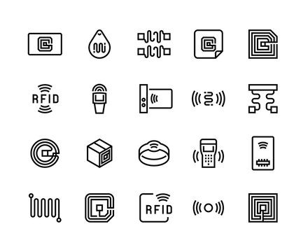 Radio tag line icons. Wireless RFID chip and radio-frequency identification, wireless antenna and electric circuit. Vector illustration set tagging electronics semiconductors sound equipment