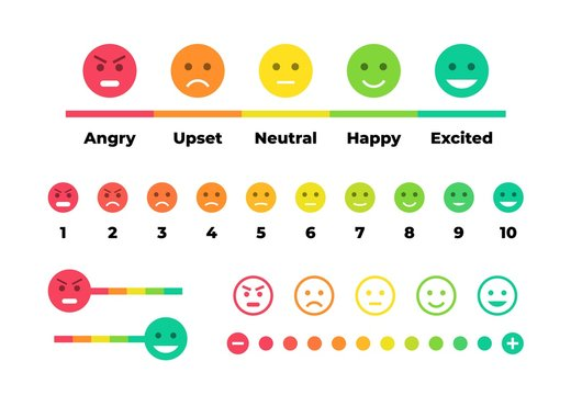 Satisfaction rating. Feedback scale with emoticon faces, bad to good user experience. Vector set of emoticons with different moods for feedback with customer using with signs