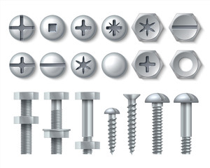 Metal bolt and screw. Realistic steel nails, rivets and stainless self-tapping screw heads with nuts and washers. Vector illustration repair set isolate fasteners for equipment tool and furniture