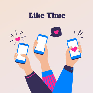 Like concept. Cartoon people hands holding smartphones, social media engage. Vector friends communication and customers feedback, illustration marketing brands clothes on markets