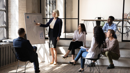 Serious middle aged businesswoman mentor give presentation in office