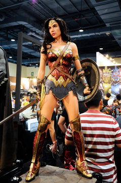 KUALA LUMPUR, MALAYSIA -MARCH 24, 2017: Fiction character of WONDER WOMAN from DC movies and comics. WONDER WOMAN action figure toys in the various sizes displayed by the collector for the public.