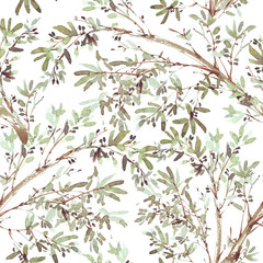Olive branch seamless pattern in watercolor style isolated on white background. Botanical illustration. Mediterranean nature plant wallpaper, textile print.