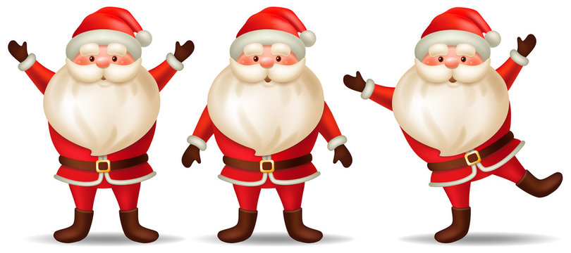 Set cartoon santa claus. Isolated 3d vector illustration on white background.