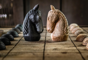 Battle of Wooden Chess Horse