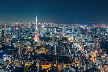Fotomurales - Cityscape of Tokyo skyline, panorama aerial skyscrapers view of office building and downtown in Tokyo in the evening. Japan, Asia.