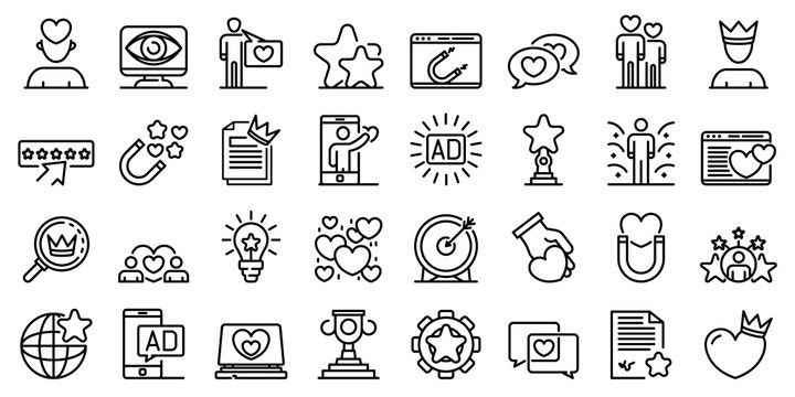 Engaging content icons set. Outline set of engaging content vector icons for web design isolated on white background