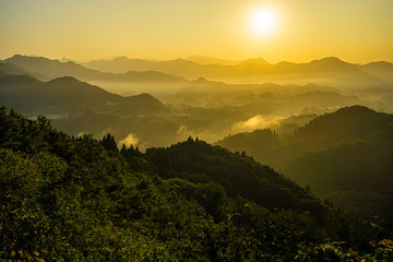 Canvas Prints Honey sunrise in mountains, Takachiho, Miyazaki