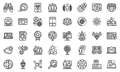 Gamification icons set. Outline set of gamification vector icons for web design isolated on white background