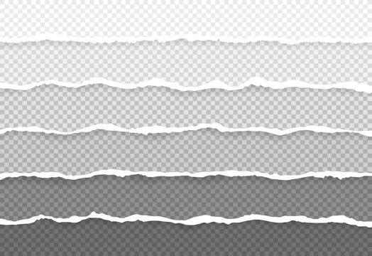 Set horizontal torn paper edges, seamless horizontally texture. Space for advertising, banner of web page, border and header