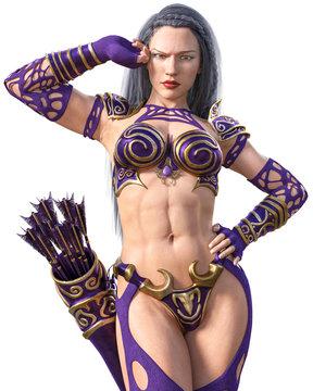 Warrior amazon archer woman with bow.