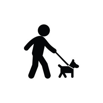 walking with dog icon vector. Linear style sign for mobile concept and web design. walking with dog symbol illustration. Pixel vector graphics - Vector.