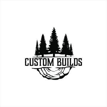 logging logo custom build equipment stock and vector image