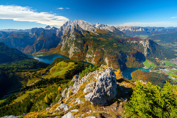 view on Königssee lake from Jenner mountain during autumn, Berchtesgaden, Bavaria, Germany