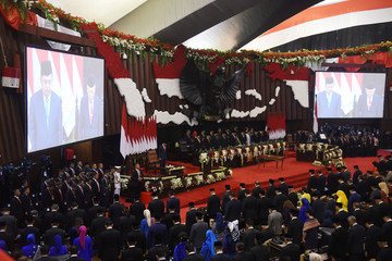 A general view of the inauguration and a swearing-in ceremony of Joko Widodo and his New Vice President Ma'ruf Amin, at the House of Representatives building in Jakarta