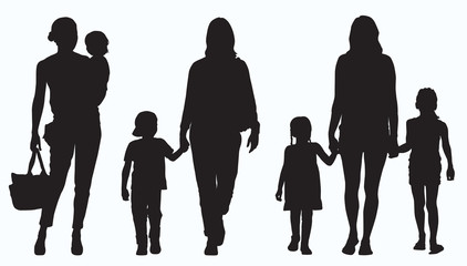Mother and Children in Silhouette