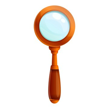 Wood magnify glass icon. Cartoon of wood magnify glass vector icon for web design isolated on white background
