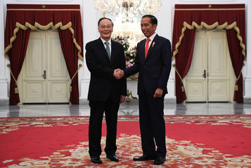Indonesian President Joko Widodo shakes hands with Chinese Vice President Wang Qishan during their meeting after the inauguration for his second term, at the Merdeka Palace in Jakarta