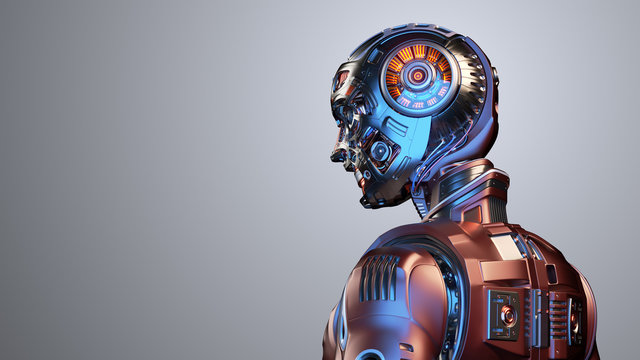 Very detailed futuristic robot man or red humanoid cyborg with metallic skull head. Side back view isolated on color background with free copy space for text. 3d render