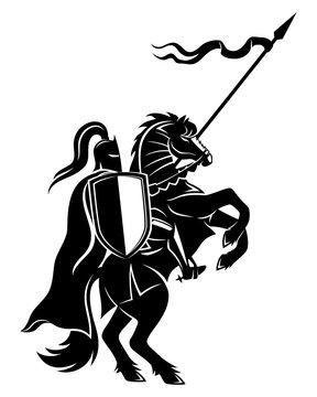 Ancient warrior on horseback on a white background.