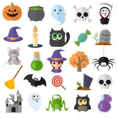 Set of vector flat cartoon icons for halloween