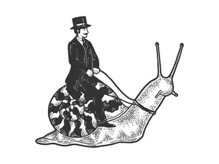 Old fashioned gentleman riding snail sketch engraving vector illustration. T-shirt apparel print design. Scratch board style imitation. Black and white hand drawn image.