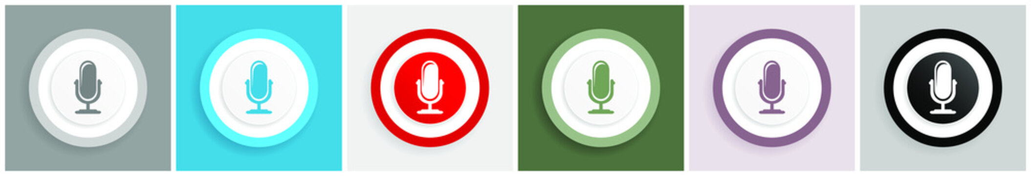 Microphone icon set, colorful flat design vector illustrations in 6 options for web design and mobile applications
