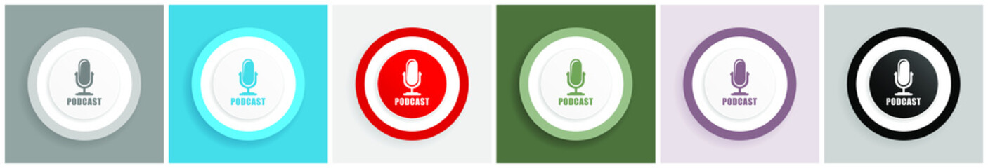 Podcast icon set, colorful flat design vector illustrations in 6 options for web design and mobile applications