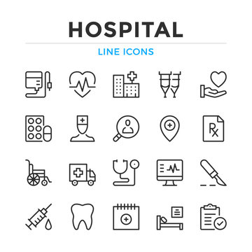 Hospital line icons set. Modern outline elements, graphic design concepts, simple symbols collection. Vector line icons