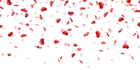 Heart falling confetti isolated white background. Red fall hearts. Valentine day decoration. Love element design, hearts-shape confetti invitation wedding card, romantic holiday. Vector illustration